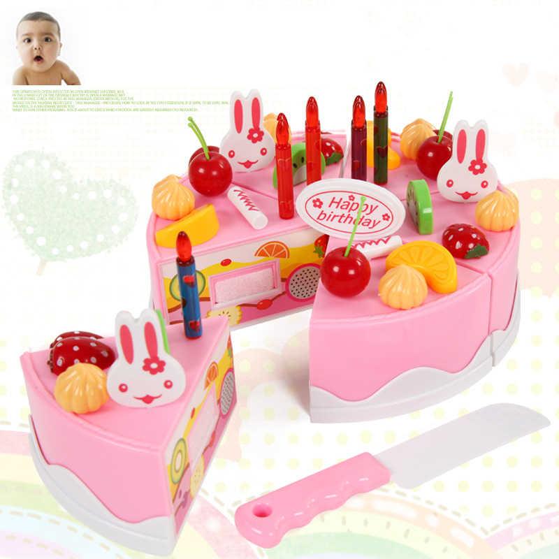 54 pçs cozinha plástico corte bolo de aniversário brinquedos fingir jogar jogo de alimentos conjunto de crianças chá presente para o bebê cedo educacional clássico