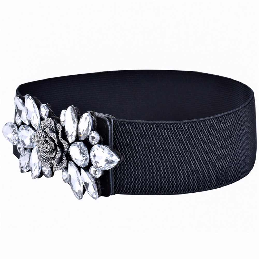 ... Women Belts Luxury Brand Wide Floral Rhinestone Belt Buckles Stretchy Elastic  Waist Belt Fashion Design Waistband ... a16c7b099425