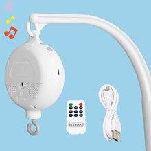 Baby Rammelaar Speelgoed 0 12 Maanden Wit Rotary Mobiele Op Het Bed Pasgeboren Muziekdoos Bed Bel Knuffels houder Beugel Baby Jongen Speelgoed