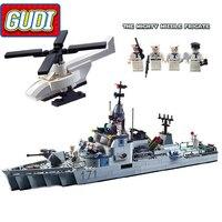 GUDI Military Educational Frigate Building Blocks Toys For Children Kids Gifts Army Battleship Boat Helicopter Bricks Legoings