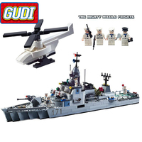 GUDI Military Educational Frigate Building Blocks Toys For Children Kids Gifts Army Battleship Boat Helicopter Bricks Legoings
