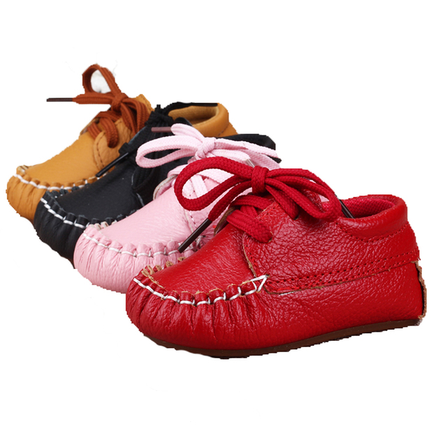 Fashion Baby Genuine Leather Laces Up Crib Shoe Anti-Slip Prewalkers 6 Colors Lace up Shallow Newborn Infant Kid First Walkers