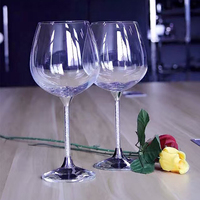 Big Capacity Wine Glass Clear Wine Cup Set Round Crystal Wine Glass Wedding Crystal Gblet Drinking Glasses Big Wine Goblet Glass