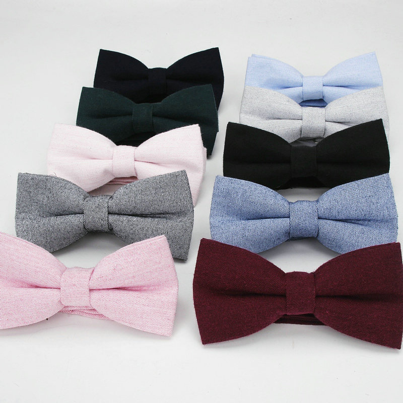 2019 Brand New Men's Fashion 100% Cotton Vintage Navy Bow Ties For Man Wedding Business Suits Solid Black Butterfly Accessories