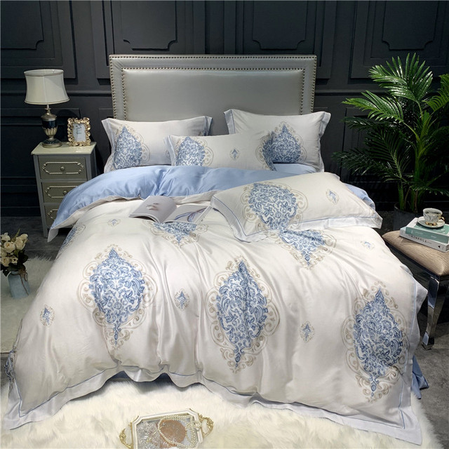 Gray printed tencel Bedding Set Duvet cover Bed sheet Bed Linen Pillowcases