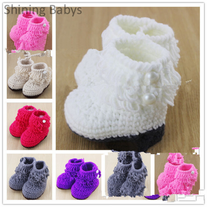 Baby Girls Crochet Hand Made Wool Shoes Toddler Solid Color Sweater Knit  Pearl Design Princess Boots