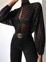 2019 Для женщин элегантный основной черный Повседневная рубашка Женский Стильный офисные топ в полоску спереди вырез-капля сетки блузка