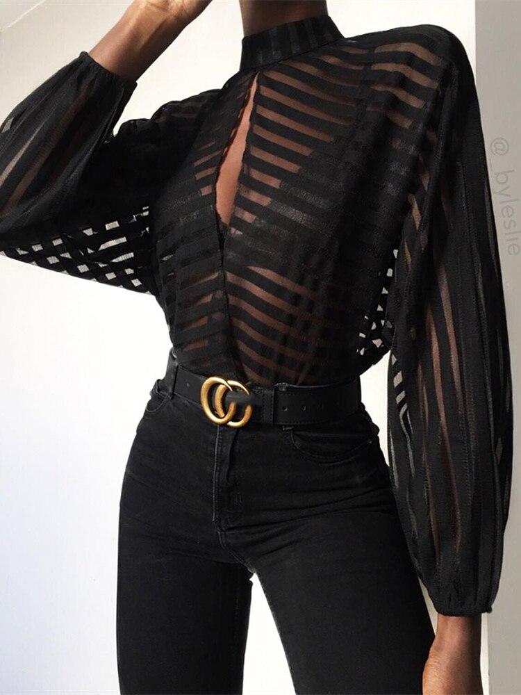 2019 Women Elegant Basic Black Casual   Shirt   Female Stylish OL Work Top Stripes Keyhole Front Mesh   Blouse