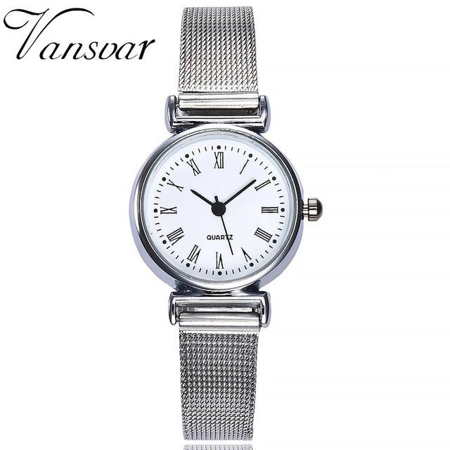 Vansvar Exquisite Stainless Steel Band Quartz Wrist Watch Analog Small Wrist Wat
