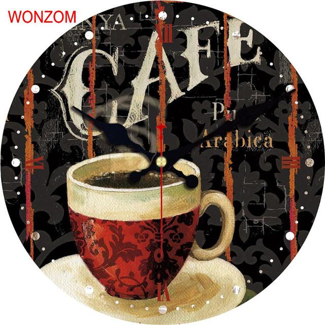 WONZOM Coffee Design Large Latte Wall Clock Silent Living Room Wall Decor Saat Home Decor Watch Wall 2017 Reloj De Pared Gift