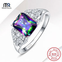 Charming Rainbow Crystal Zircon 100 925 Sterling Sliver Ring Wedding Engagement Party Ring Free Jewlery Box