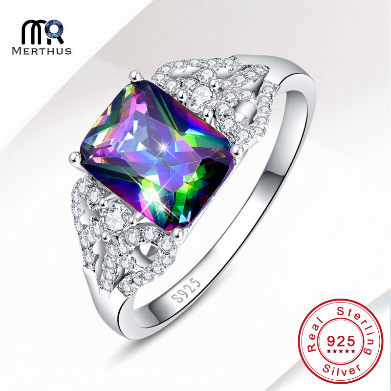 Charming Rainbow Crystal Zircon 100 925 Sterling Sliver Ring Wedding Engagement Party Ring Free font b