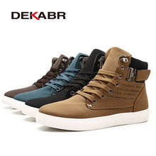 DEKABR 2019 Hot Men Shoes Fashion Warm Fur Winter Men Boots Autumn Leather Footwear For Man New High Top Canvas Casual Shoes Men