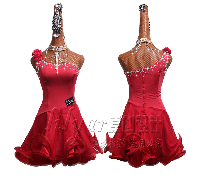 Customized Latin Dance Competition Dresses Performance Dresses Wine Red Slant Shoulder Water Drill Fishbone Skirt