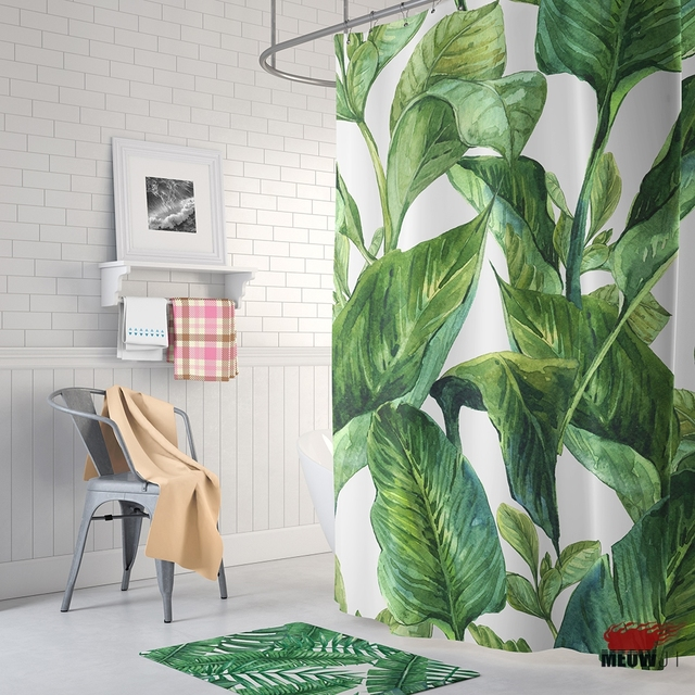 Fresh Green Leaves Shower Curtain Printed Polyester Fabric Bathroom ...