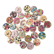 100Pcs Fancy Fashion Bulk Mixed Wooden Button Flower Sewing Accessories Decorative Buttons Handmade Scrapbooking Craft DIY 15mm(China)