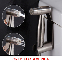 Free shipping Premium Stainless Steel Bathroom Handheld Bidet Shattaf Sprayer Transform Toilet into Spray Bidet only for America
