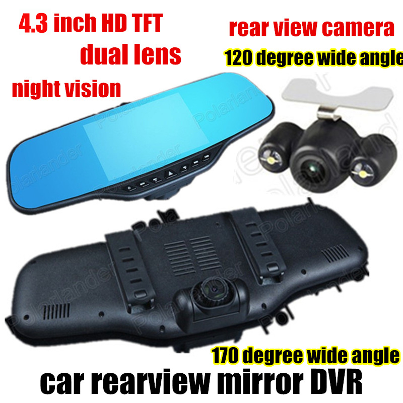 Portable 4.3 inch Car DVR Rearview Mirror Dual Lens Video Recorder Night Vision front 170 and back 120 degree wide angle
