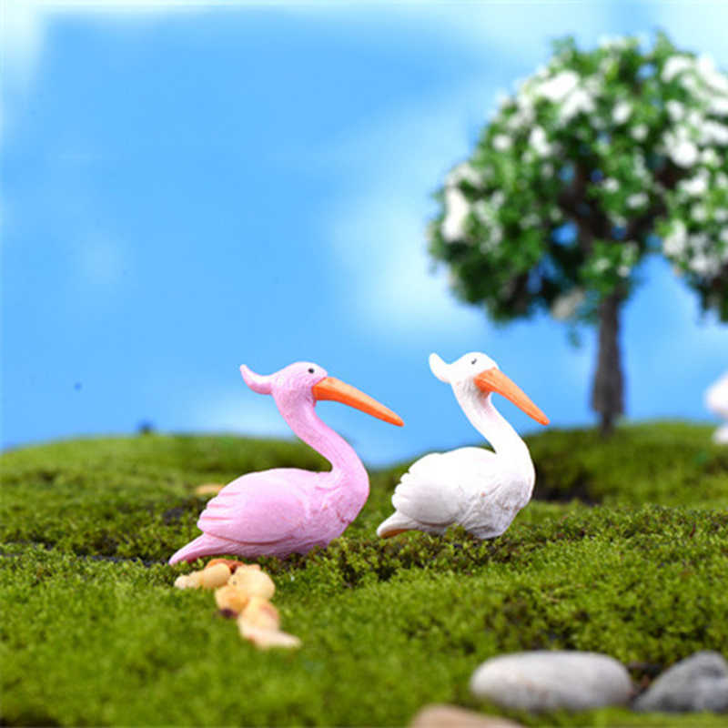 ZOCDOU 2 Pieces Flamingo Lucky Bird Model Small Statue Figurine Micro Crafts Ornament Miniatures DIY Home Garden Decor Doll Toy