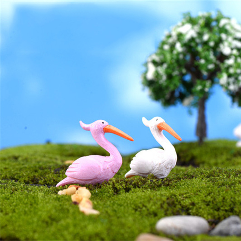 ZOCDOU 2 Pieces Flamingo Lucky Bird Model Small Statue Figurine Micro Crafts Ornament Miniatures DIY Home Garden Decor Doll Toy