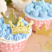 50pcs/pack  Gold Princess Crown Cake Topper Favors Party Cake Cupcake Stand Picks Baby Shower Wedding Birthday Decorations