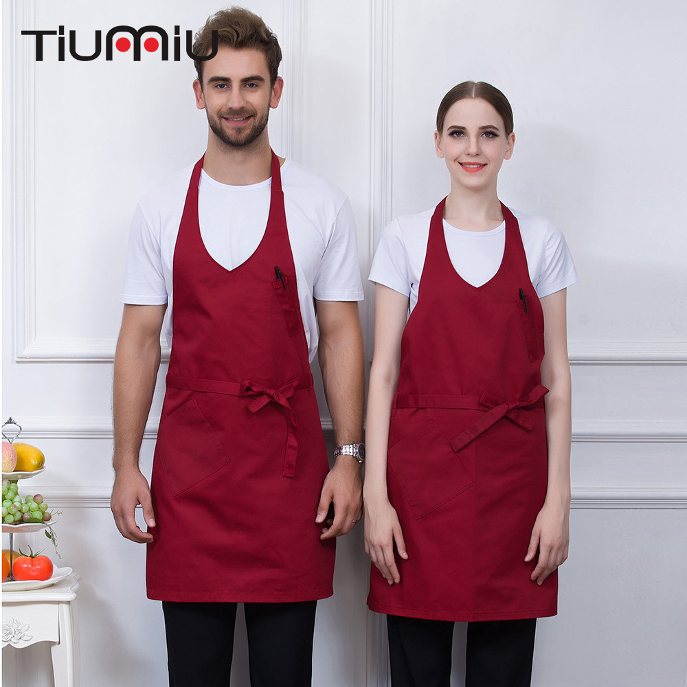 V-Neck Apron Strap Hanging Neck High Quality Wholesale Kitchen Coffee Shop Bakery Chef Waiter Cleaning Work Wear Aprons Uniforms