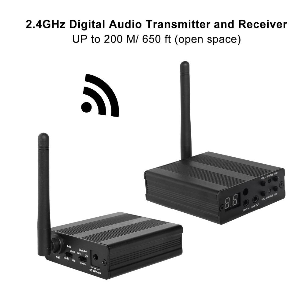 TP-WIRELESS 2.4GHz Digital Wireless HDCD Audio Adapter Music Sound Transmitter and Receiver 650ft Long Range Transceiver System