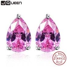 Drop Shipping Pink Topaz Earring Stick Water Drop Stone Stud Earring Piercing 925 Sterling Silver Jewelry