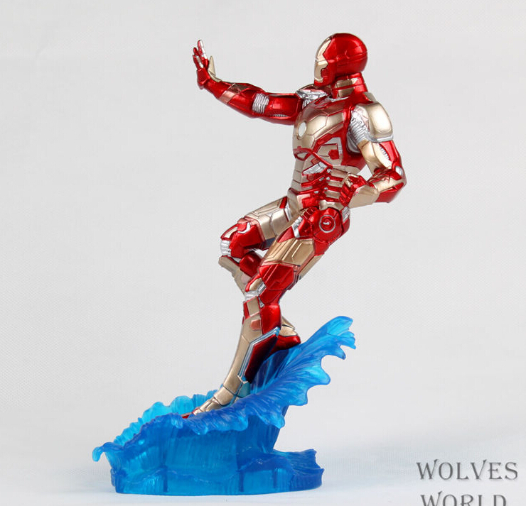 3pcs/set 24cm Iron Man water Action Figures PVC brinquedos Collection Figures toys for christmas gift with Retail box iron man action figure mini egg attack light 6pcs set action figures pvc brinquedos collection figures toys for christmas gift
