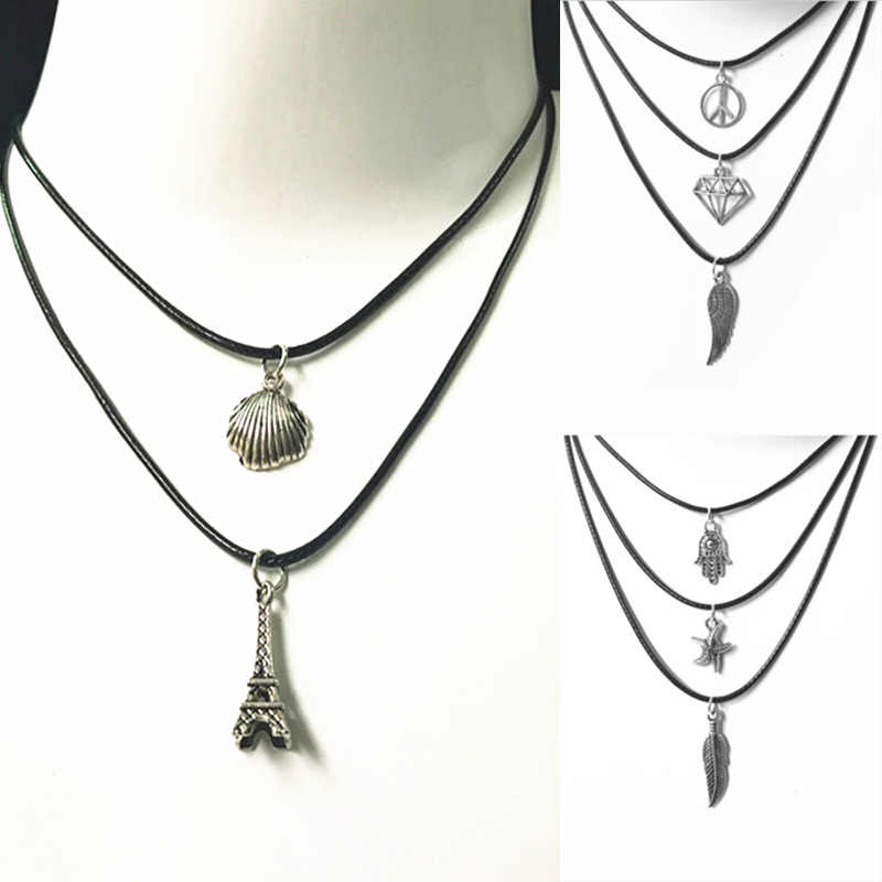 New Hot fashion Tank Bone Bone Wax Rope Necklace Ladies Hot Torr Peace Wings Margaret Piece Pure Black Leather Necklace