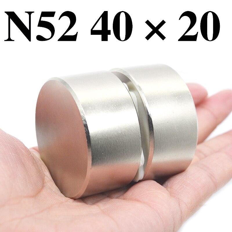 HYSAMTA 2 piezas de imán de neodimio de N52 40x20mm Super fuerte ronda de la tierra rara poderoso NdFeB galio metal magnético altavoz N35 40*20