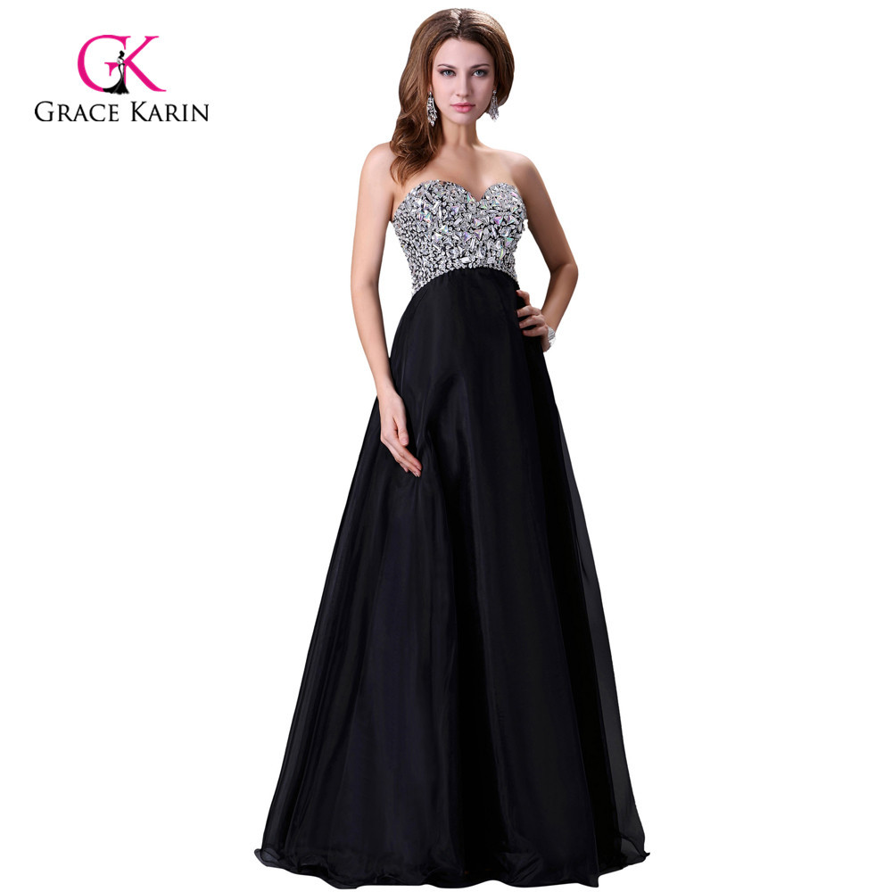 Black and Pink Long Prom Dresses