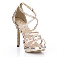 купить Sexy Glitter Bridal Party Open Toe Stiletto Ankle Strap Women Sandals Scarpe da Donna Sandali Tacco Alto a Spillo YJ0640A-4c дешево