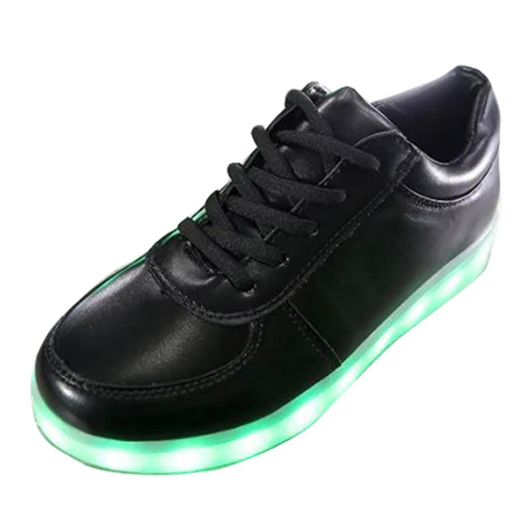 Led 2016 De Planos Zapatos Hombres Colorido Carga Los Brillante blanco Fluorescente Ligeros Luminoso Ocio Zapatillas Unisex Deporte Usb Negro 5S0wxR0rq