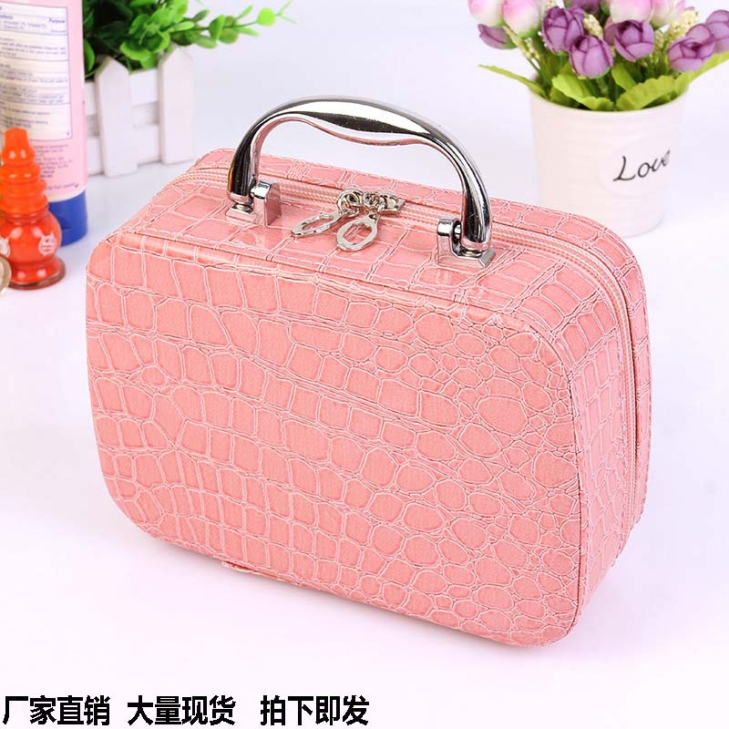 Female cosmetic bag stone pattern square zipper with mirror cosmetic case ladies portable storage bag multi-function cosmeticbag