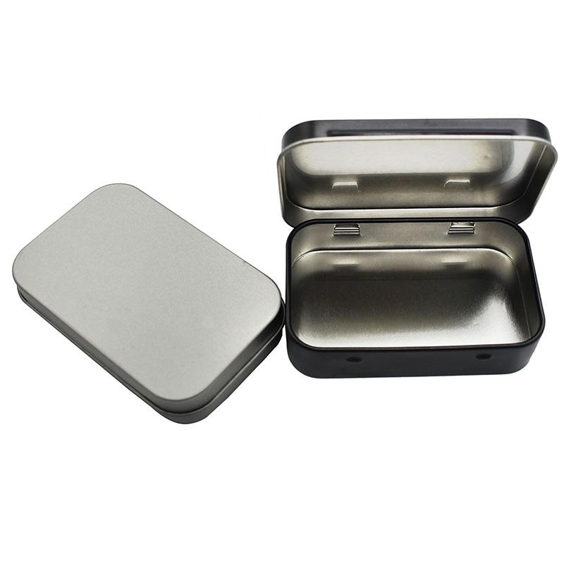 1 pc Survival Kit Tin Small Empty Metal Tin Silver Black Flip Storage Box Case Organizer For Money Coin Candy Key(China)