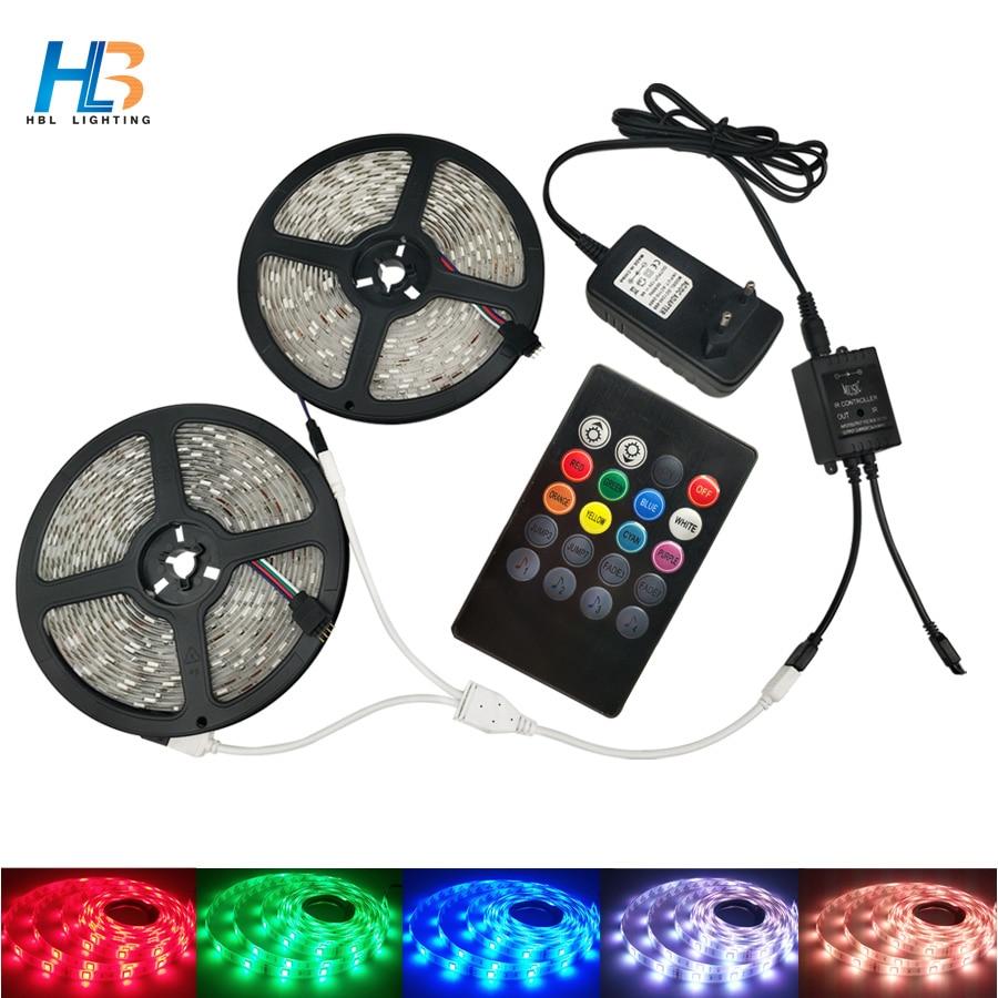 LED Strip 5050 Waterproof led ribbon 5 M 10 M diode tape ribbon lesd+ir music Controller Power Adapter Home Decoration full kit