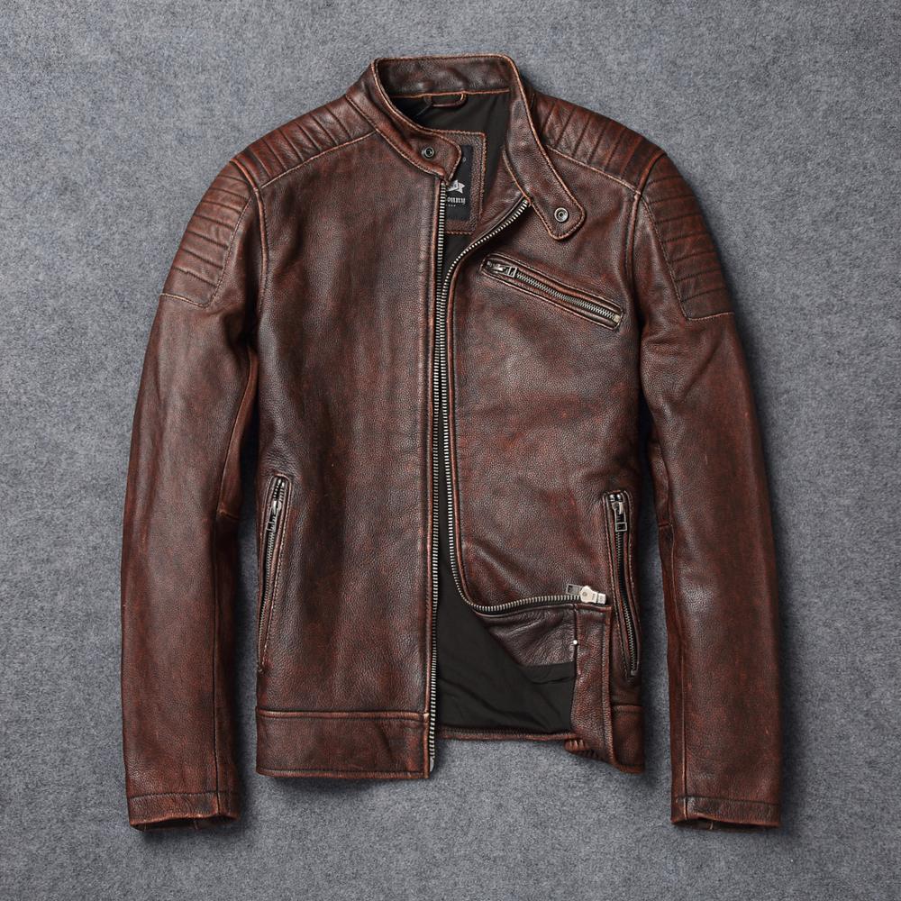 2018 New Men Vintage Brown Genuine Leather Motorcycle Jacket Real Soft Cowhide Short Leather bomber jacket Winter Coats S-XXXL