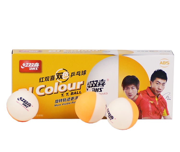 DHS tennis de Table boules D40 + BI Couleur Sertis ABS nouveau matériel En Plastique Poly Ping-Pong Balles