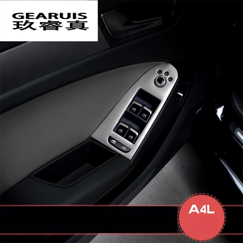 Stainless steel door armrest panel cover trim window glass lift buttons frame decal strip 3D sticker