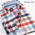 Smart five Men Shirt Brand Clothing  New Style Patterns Plaid Cotton Long Sleeve Shirts Men Slim Fit  5XL 6XL  Camisa Masculina