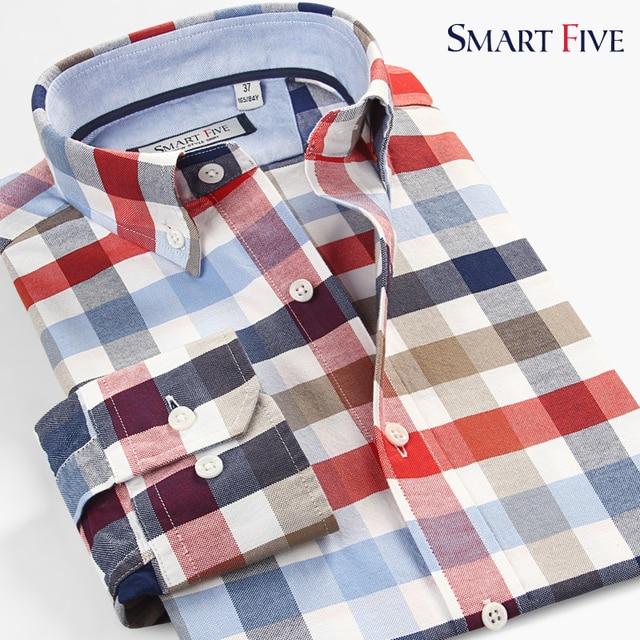 bd9335326977 Smart five Men Shirt Brand Clothing New Style Patterns Plaid Cotton Long Sleeve  Shirts Men Slim