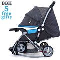 BBH Baby Stroller Rocking Chair 5 Free Gifts Folding Carriage Pushchair Portable Pram Newborn Infant Sit and Lie 4 Wheels