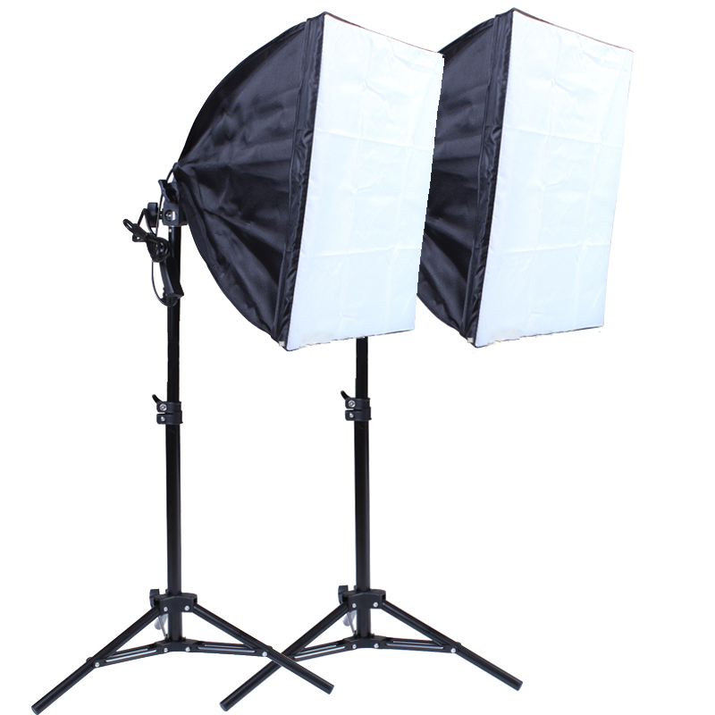 40*40cm Continuous Lighting Softbox 75CM Metal Light Stand 100-240V Single Lamp Holder Photography Kit For Photo Studio