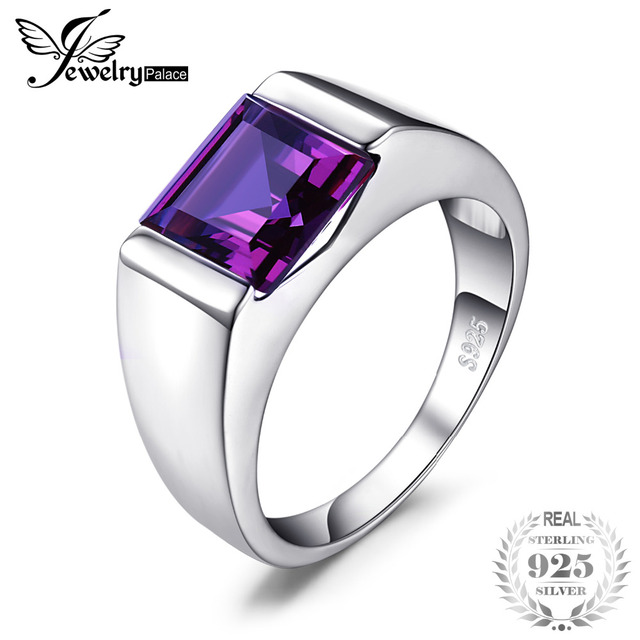 JewelryPalace Men's Square 3.3ct Created Alexandrite Sapphire 925 Sterling Slive
