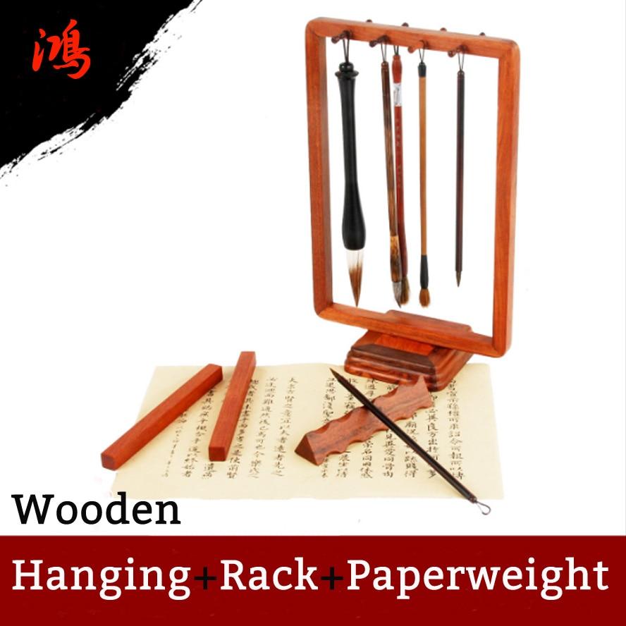 Woolen Chinese Calligraphy Brush Rack Penholder Painting Hanging Shelf Paper weight Arts Set Painting Supply цены