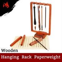 Woolen Chinese Calligraphy Brush Rack Penholder Painting Hanging Shelf Paper weight Arts Set Painting Supply