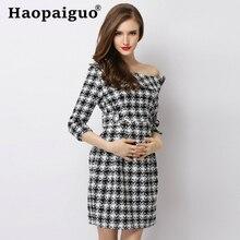 купить Houndstooth Style Mini Wrap Dress Women with Floral Off Shoulder Bandage Bodycon Dress Women Basic Wear Vintage Dress Female по цене 2478.89 рублей
