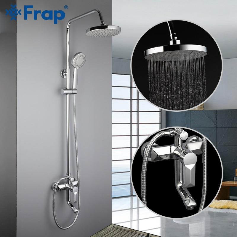 Frap conjunto torneira do chuveiro do banheiro banheira torneiras misturador do chuveiro banho cachoeira cabeça de chuveiro parede mixer torneiraf2418