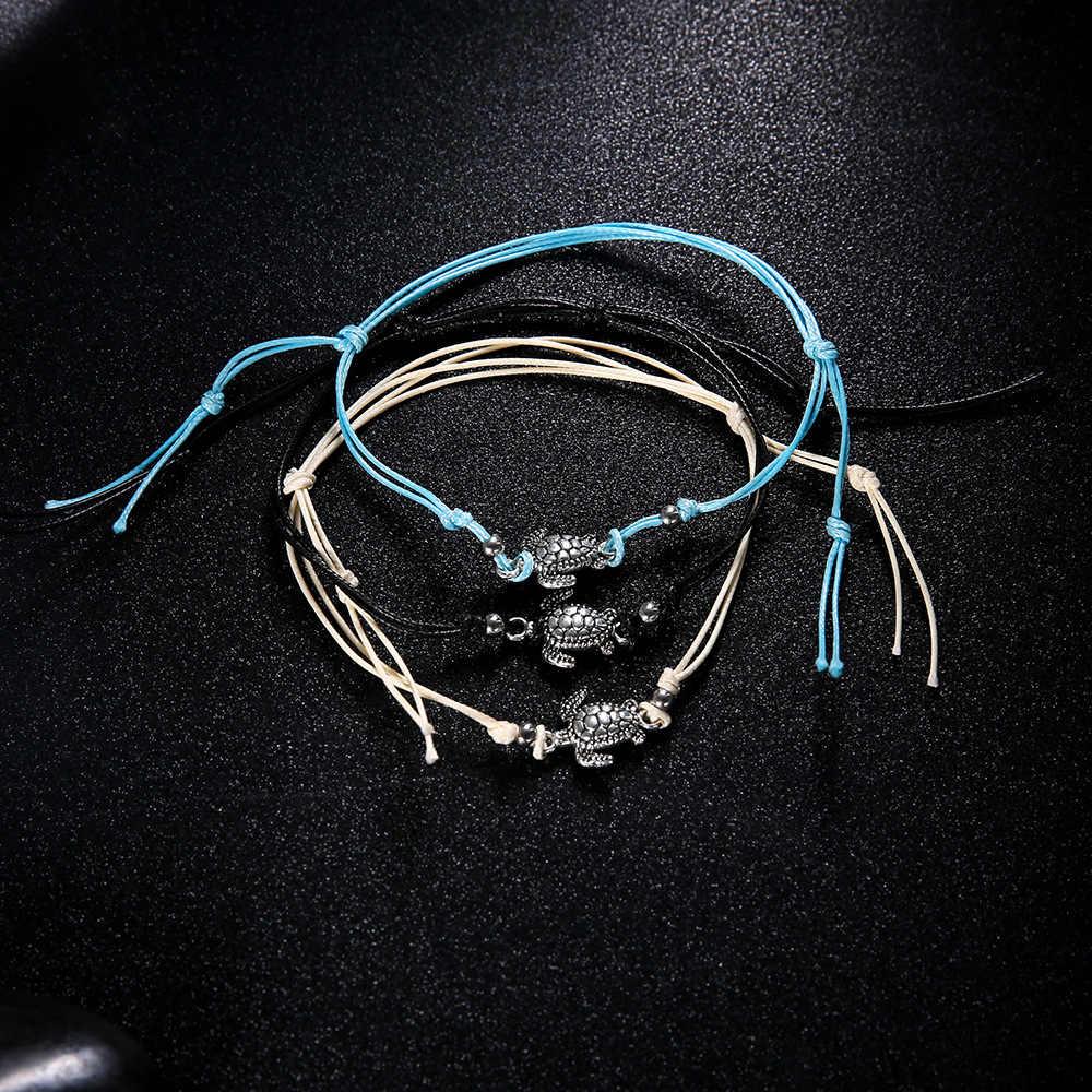 1 компл. = 3 шт. Винтаж черепаха браслеты для Для женщин Мода черный, Белый Цвет Воск Строка шнуровкой ноги Jewelry минималистский черепаха ботильоны браслет